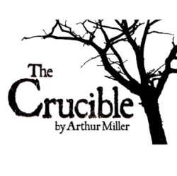 Image of a Tree reading THe Crucible in Black and White