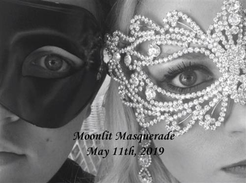 Two masked faces. The picture reads Moonlit Masquerade May 11th, 2019