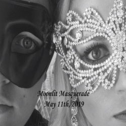 Two masked people and the image says Moonlit Masquerade 2019