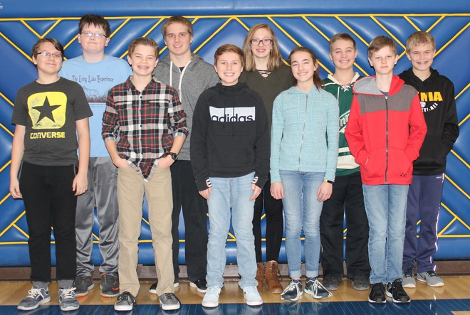 Middle School West Geography Bee Finalists.  Ten Students lined up in two rows.