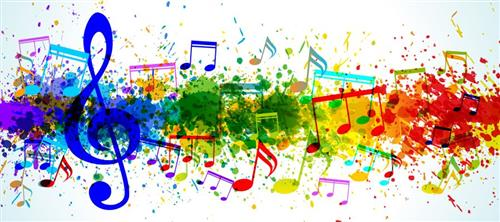 Line of colorful music mixed with splotches of colorful paint