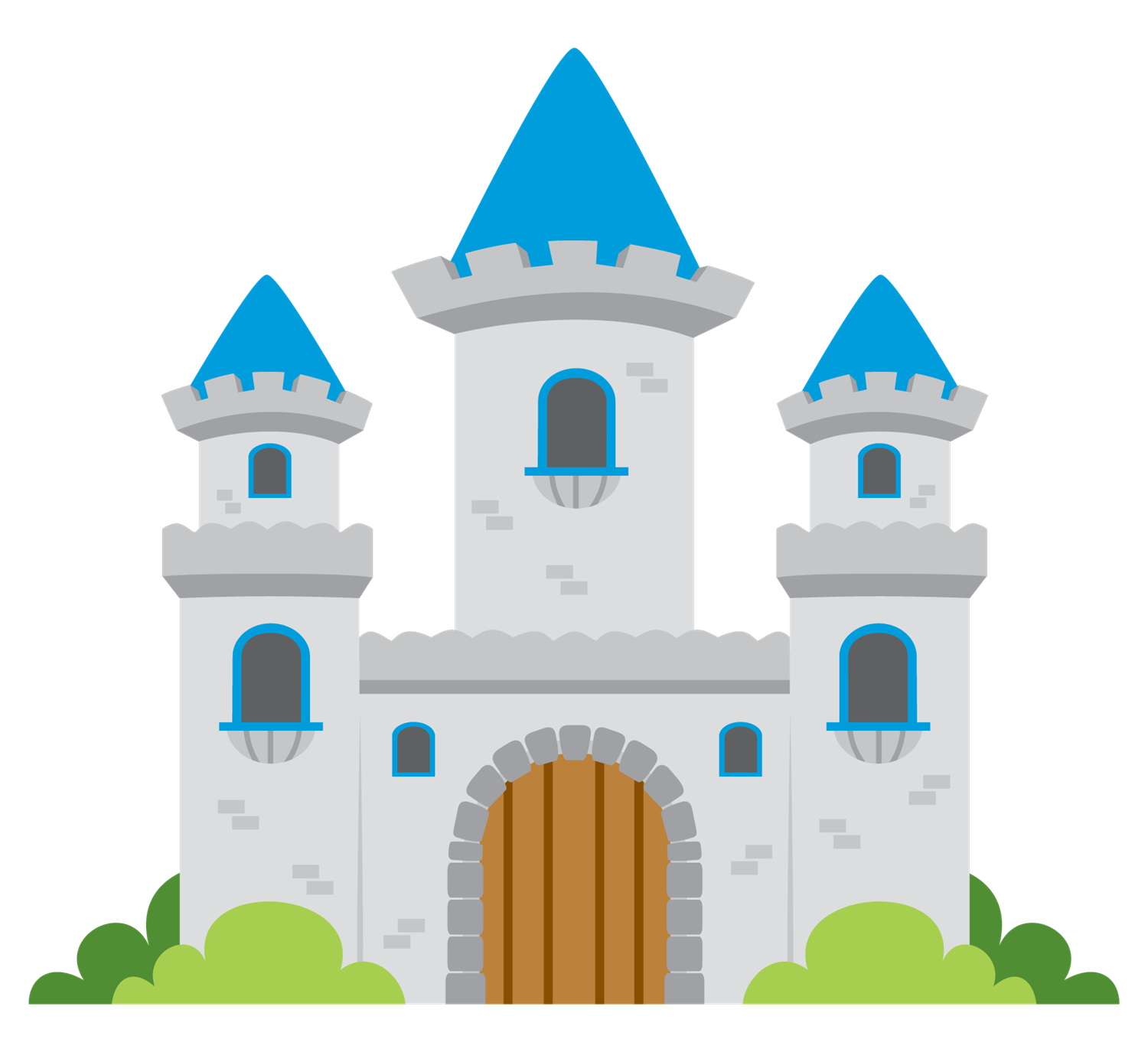 Gray and blue cartoon castle