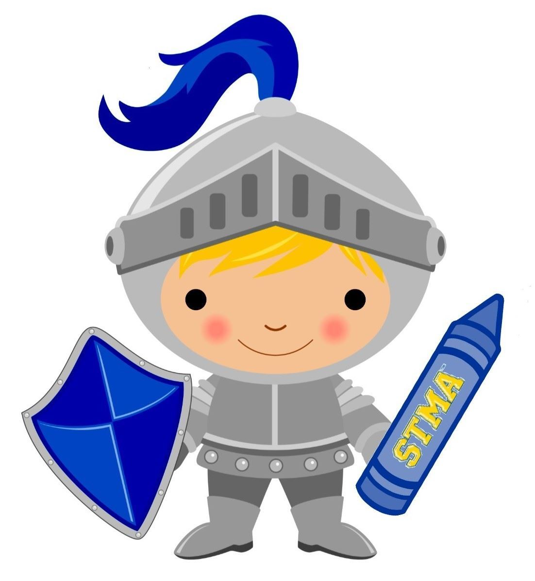 Child knight in armour holding a crayon with STMA on it