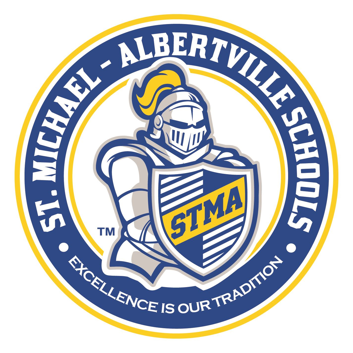 STMA Knight inside a circle that reads St. Michael-Albertville SChools Excellence Is Our Tradition