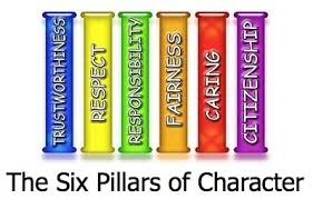 Image of Six Pillars each one labelled with Trustworthiness, Respect, Responsibility, fairness, Caring, Citizenship
