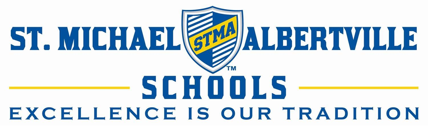 STMA logo with shield reading St. Michael-Albertville Schools Excellence is our Tradition.