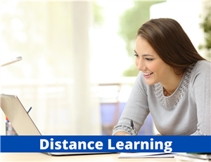Girl working at a computer.  Blue banner reads Distance Learning.