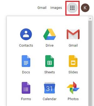 Screen image of the Google Apps Launcher.