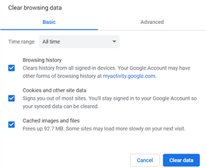 Screen image of the Clear Browsing Data screens in Chrome