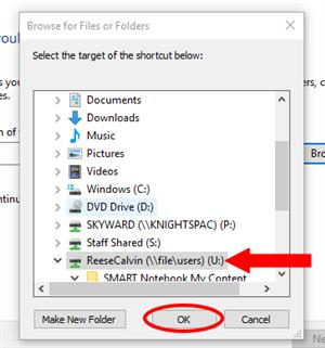 Windows 10 browsing for application of folder