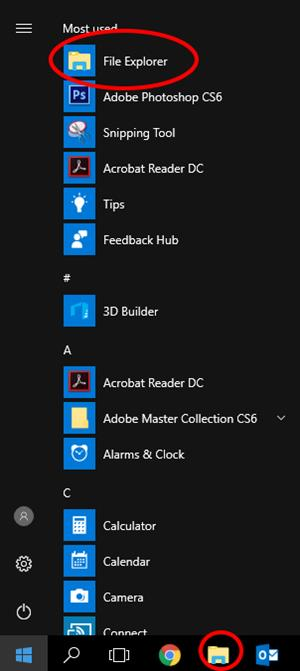 Windows 10 start menu and task bar highlighting file explorer