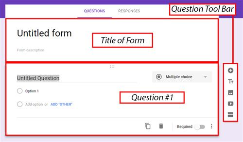 Screen image of the form areas in google Forms.