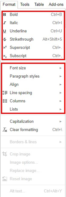 Screen image of the format tab in google docs