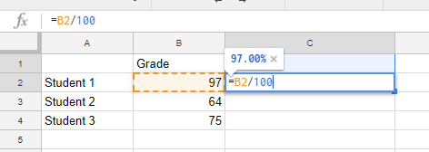 Screen image of cells within google sheets showing a function10