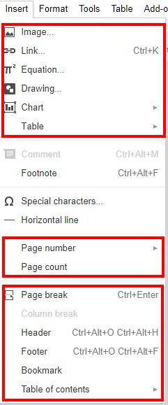 Screen image of the insert tab in google docs