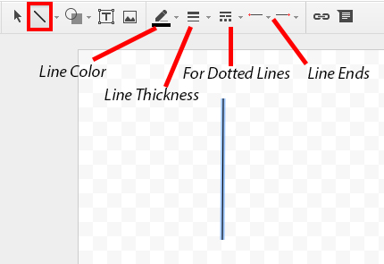 Screen image of the line tool in google drawings