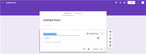 Screen image of the initial page of Google Forms showing the Question Tabs.