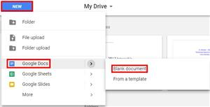 Image of Google Docs in Drive highlighting Google Docs and Blank Document