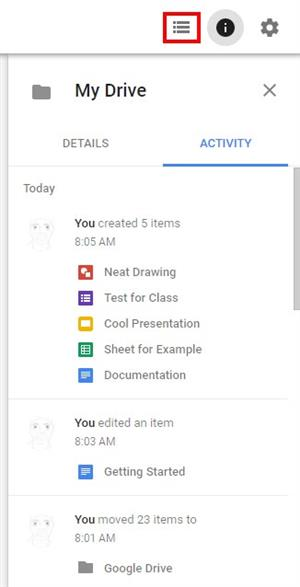 Screen image of the personalization button in google drive