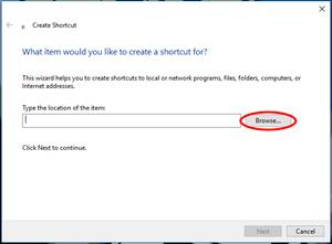 Windows 10 Searching for application to create shortcut