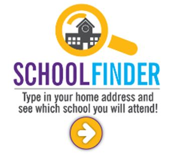 School Finder Logo with a school inside a magnifying glass.